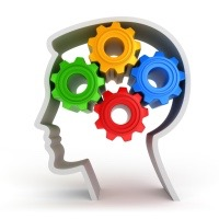 Illustration of a person's head in outline profile, with colored gears inside the head, representing thoughts
