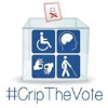#CripTheVote logo with a ballot box with four disability symbols on the front