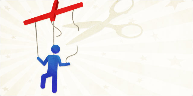 Thematic illustration of a blue stick figure hanging from a marionette controller, with a pair of scissors cutting the strings