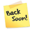Picture of yellow post-it note reading Back Soon! in black marker