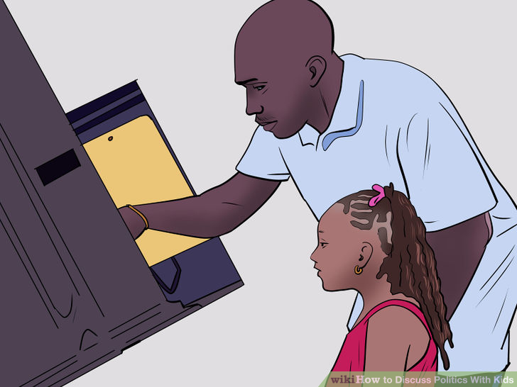 Illustration of a black man voting with his young daughter watching him