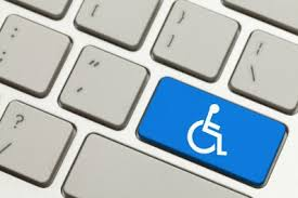 Illustration of a light grey computer keyboard, with one key colored blue with a white wheelchair symbol on it