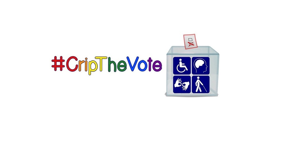 #CripTheVote logo, spelled out in rainbow colored letters, with icon of a ballot box with four disability symbols on the front