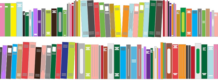 Illustration of two shelves of multicolored books