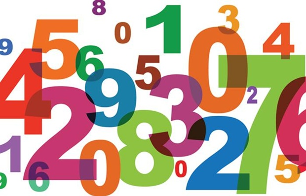 Illustration of a jumble of different colored numbers