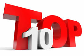 Three D perspective illustration of big red and white letters reading Top 10