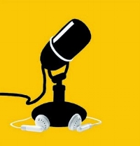 Simple iconic art depicting a black microphone, white ear buds, against a yellow background