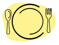 Yellow and black simple illustration of a plate and utensils setup