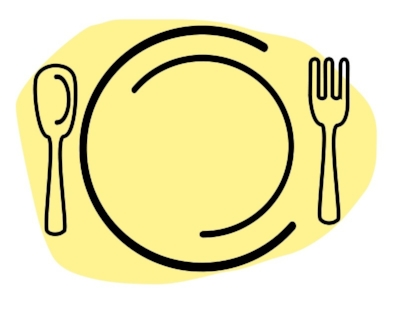 Iconic black and yellow illustration of a plate and eating utensils