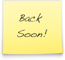 """Yellow post-it note reading """"Back Soon!"""""""