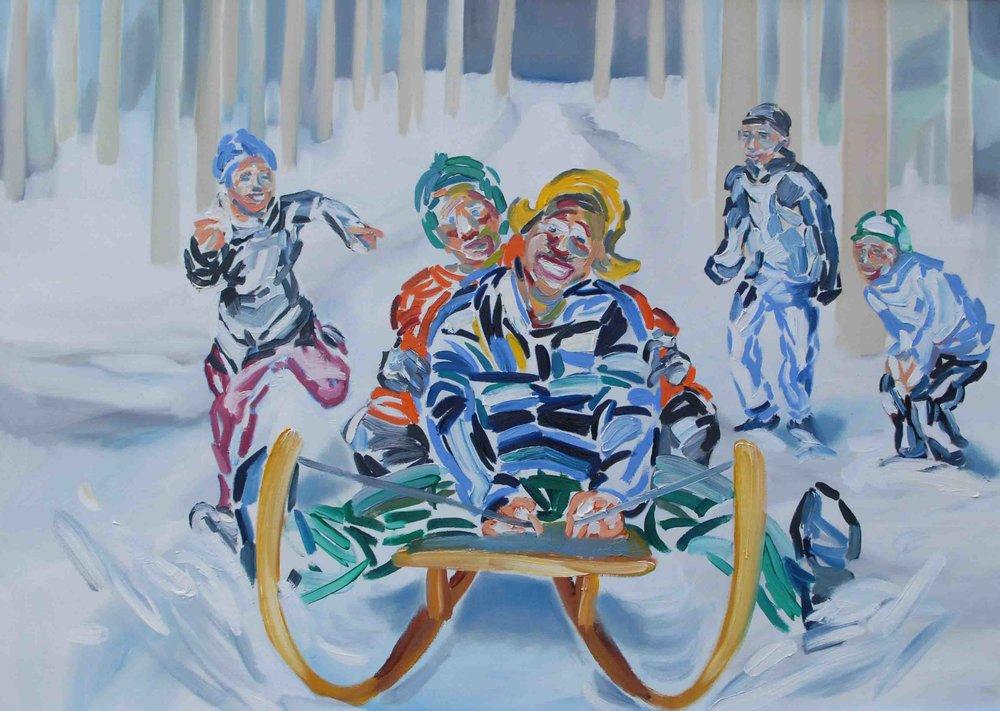 Laura Stadtegger; Schlittenfahrt; 2008; Öl auf Leinwand; 120 x 160 cm