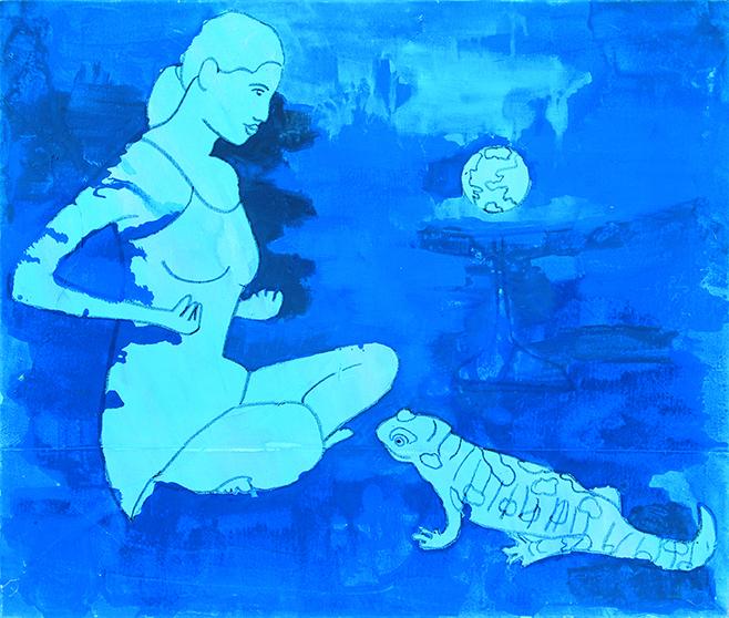 "Ankalina Dahlem ""Frau mit Erdball und Salamander""; 2002; Acryl auf Leinwand"""