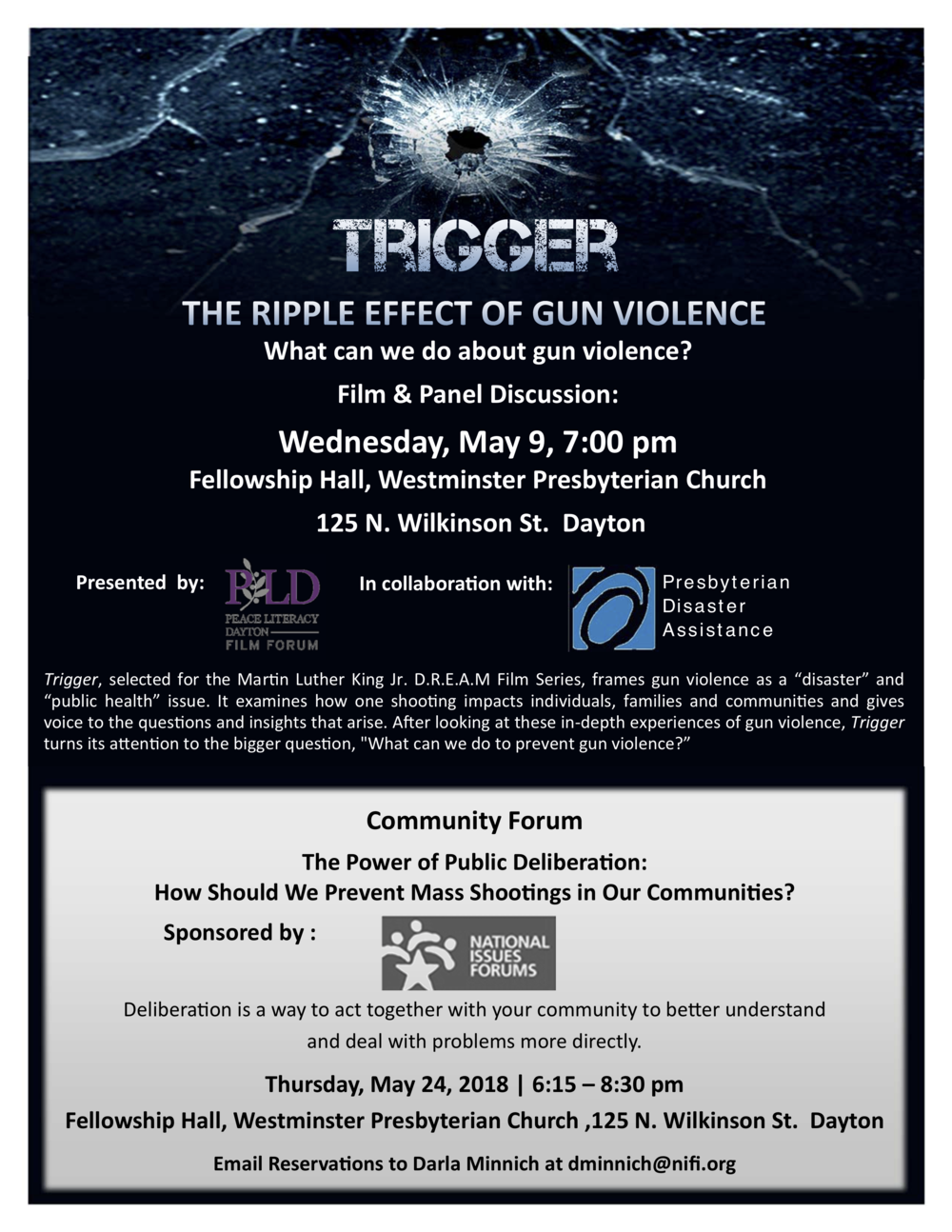 "SEE THE TRAILER/JOIN US FOR A SHOWING ...   A Short Film Highlighting the story of how gun violence impacts individuals and communities and examines its ""ripple effect"" to Be Shown on Wednesday, May 9th at Westminster Presbyterian Church    MORE AT:    https://www.facebook.com/PeaceLiteracyDaytonFilmForum/"