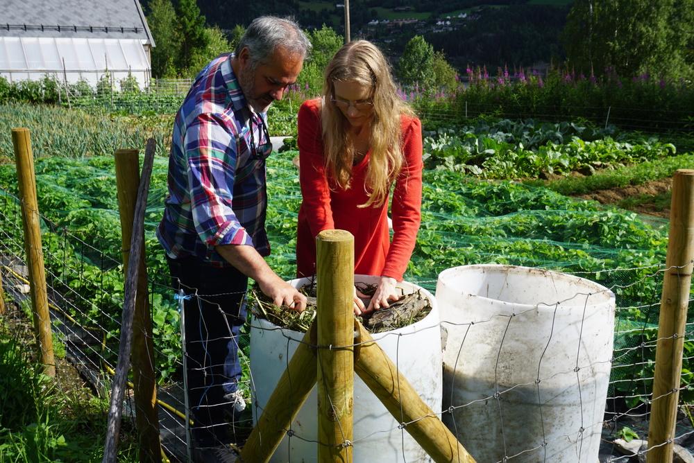 Elisabeth Tollisen og Stein X. Leikanger studerer melkesyregjæring i brenneslevann.