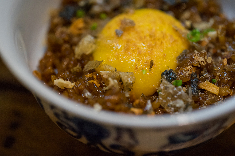 Toyo Eatery Silog: Sticky rice, free range egg, chicharon and dried tuna roe
