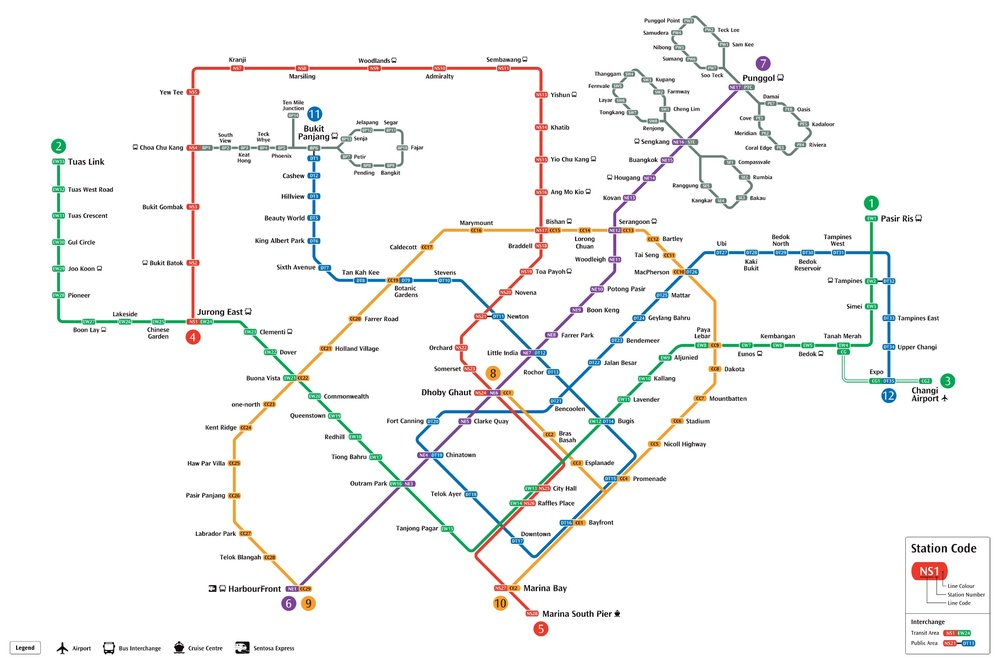 Map from Singapore's  Land Transport Authority website