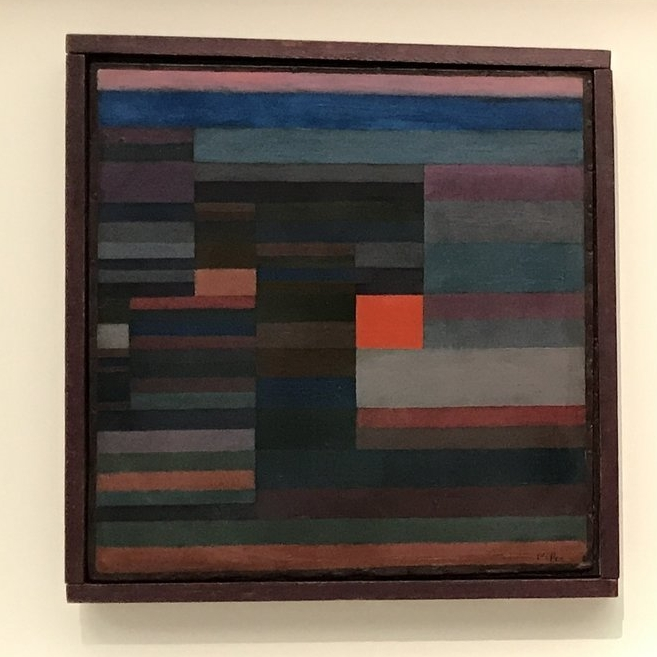 Feuer Abends (Fire in the Evening) , Paul Klee. 1929, oil on cardboard. Museum of Modern Art, New York City (picture taken while the work was on loan to the Fondation Beyeler, Riehen).