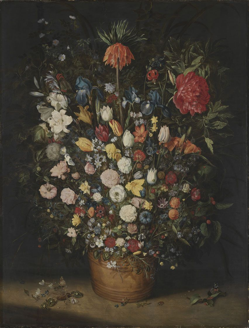 Großer Blumenstrauß (Big Bouquet) , Jan Brueghel the Elder. 1606/7, oil on wood. Alte Pinakothek, Munich. Picture taken from the  Pinakotheken collections website , used under a CC-BY-SA-4.0 license.