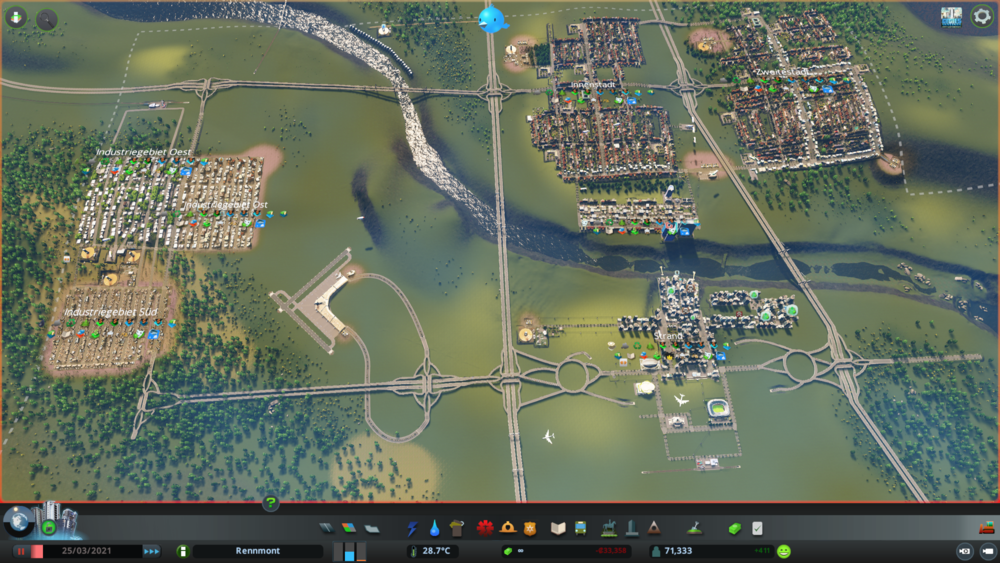 "A city I built: the main city in the north-east, with two separate ""centres"", a large industrial zone in the west, and the tourist district in the south-east."