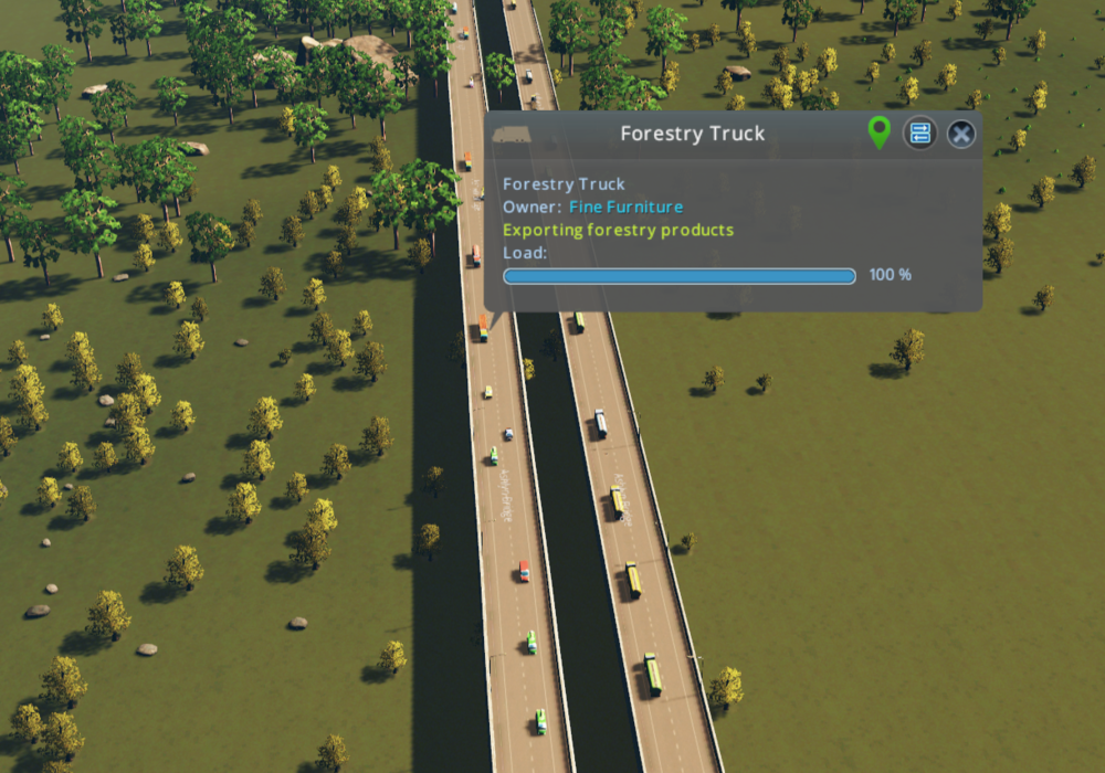 Of course, exports can travel out of the city entirely by truck, too.
