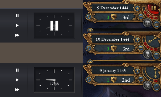 Left: Project Highrise (top: paused; bottom: running). Right: Europa Universalis 4 (top: paused; middle: running at speed 4; bottom: running at speed 1)