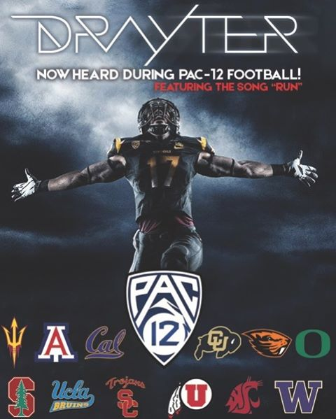 "Getcha some. Drayter's ""Run"" will be played during PAC-12 football games though the rest of 2016 (TV and radio). WATCH PAC-12 FOOTBALL.  Watch the making: http://smarturl.it/DrayterRUNVideo Download: http://smarturl.it/DrayterRUN __ @livminer @coleschwartz @camcovello @brandonpertzborn @ernieball @fractalaudio @64audio #audix #orangeamplifiers #PAC-12 __ #The University of Southern California, UCLA, Stanford University, University of Oregon, Oregon State University, The University of Arizona, Arizona State Sun Devils, University of Washington, University of California, Washington State University, University of Colorado Boulder"