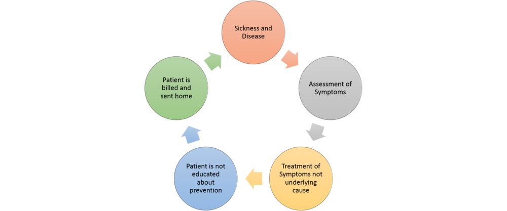 Too often medicine follows this cycle and the patient is really never given the tools to become healthy and prevent disease.