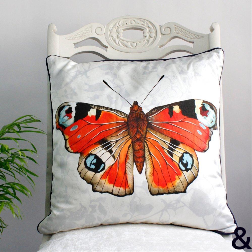 Peacock Butterfly Print Silk Cushion