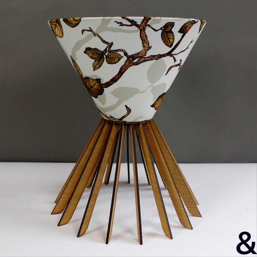 Conical Laser Cut Lamp Base With Botanical Shade