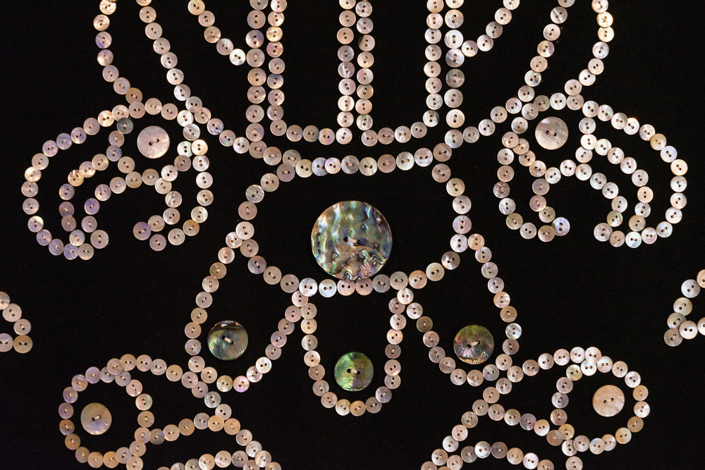 Bracken Hanuse Corlett, Qvùtix (Dance Blanket) (detail), 2018, akoya, abalone, and mussel shell buttons, wool, digital animation, 2:00. Photo: Louis Lim.