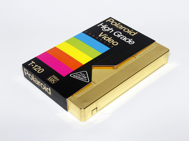 Michael E. Stephen,  Midnight Rainbow (golden era) , blank Polaroid (High Grade) VHS cassette plated in 24k gold
