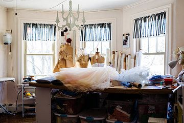 The Seams Couture Workroom on a busy week day.  Photo by Kristin Chalmers