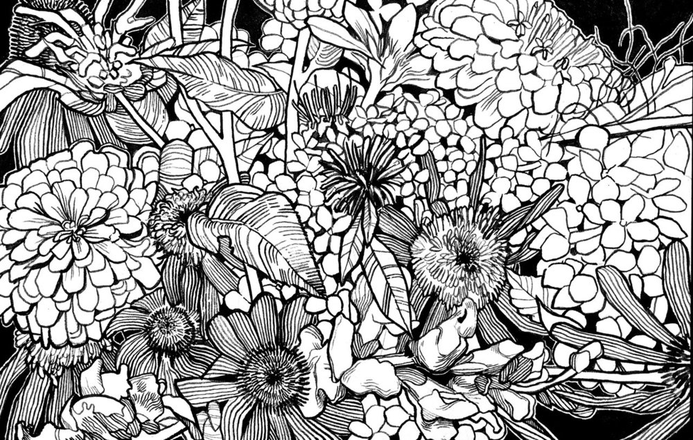 From Julie's Cutting Garden - (Ink on Paper, 2018)Flowers grown by Space & Thyme