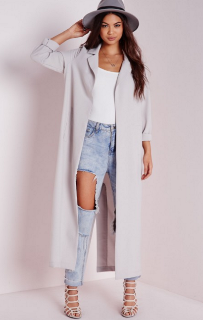 Misguided Long Sleeve Maxi Duster in Grey, $60 at    MisguidedUS.com .
