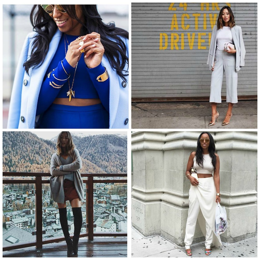 Clockwise from top left:   Shiona Turini (   @shionat   ); Aimee Song (   @songofstyle   ); Shiona Turini (   @shionat   ); Aimee Song (   @songofstyle   ).