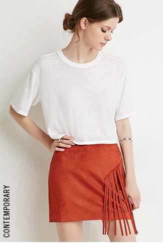Contemporary Fringed Faux Suede Skirt in Rust, $15 at    Forever21.com .
