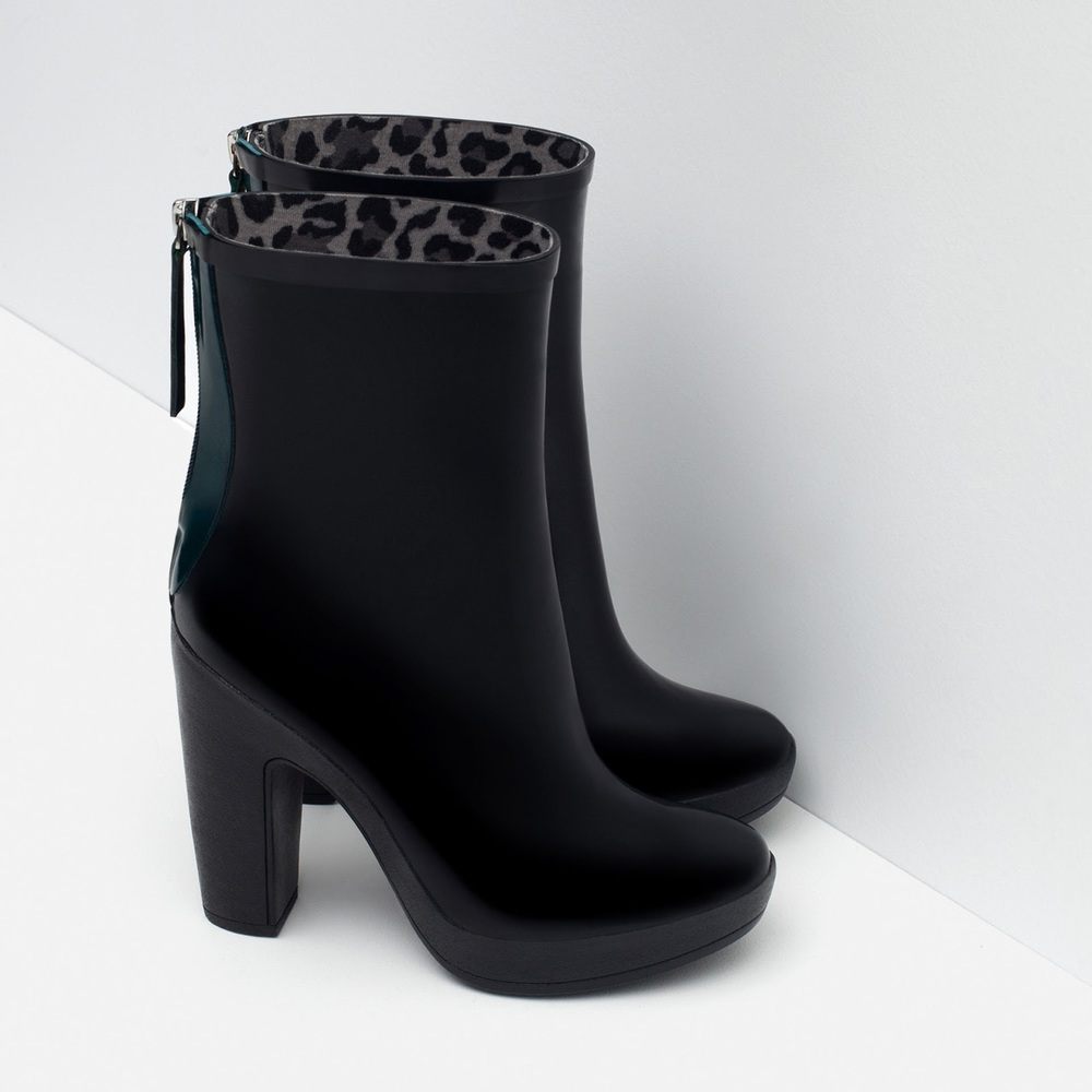 ZARA Heeled Rain Boots, $60 at    ZARA.com .
