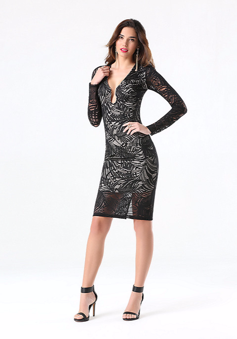 Bebe Lace Plunge Neck Midi Dress, $149 at    Bebe.com   .