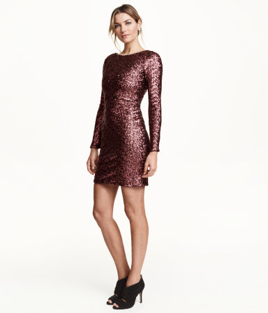 H&M Sequined Dress in Burgundy (also available in black), $70 at HM.com.