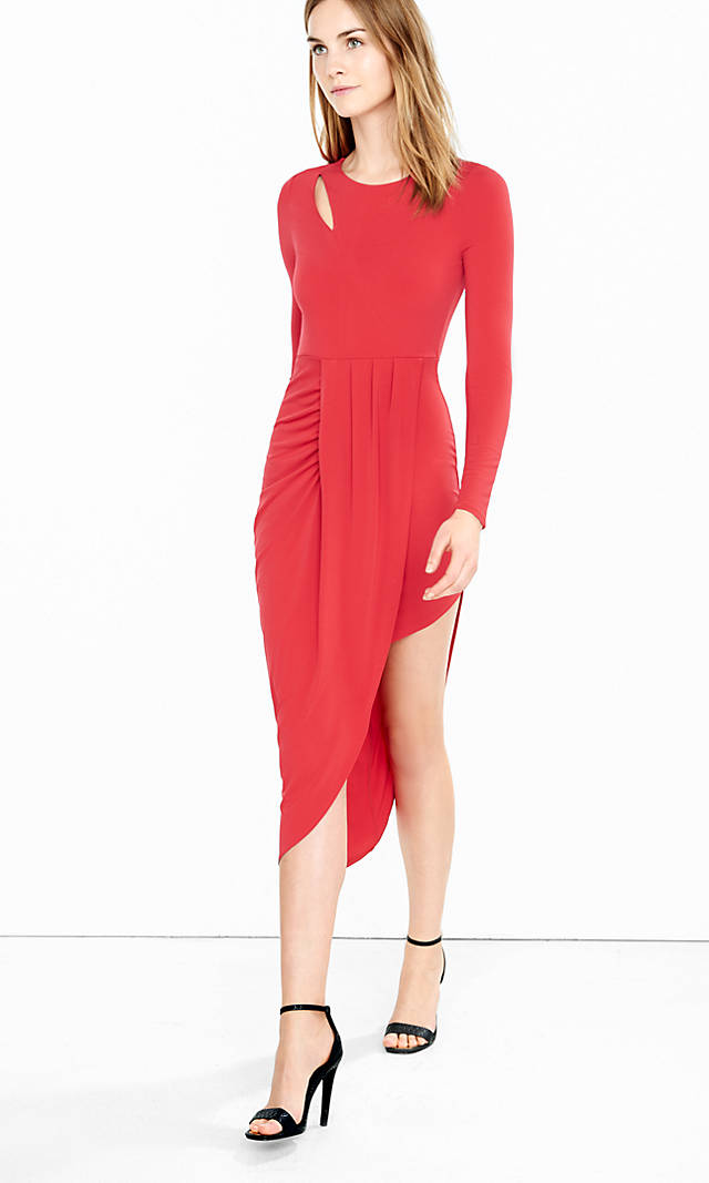 Express    Red Asymmetrical Draped Hem Midi Dress   , $56, available in stores only.