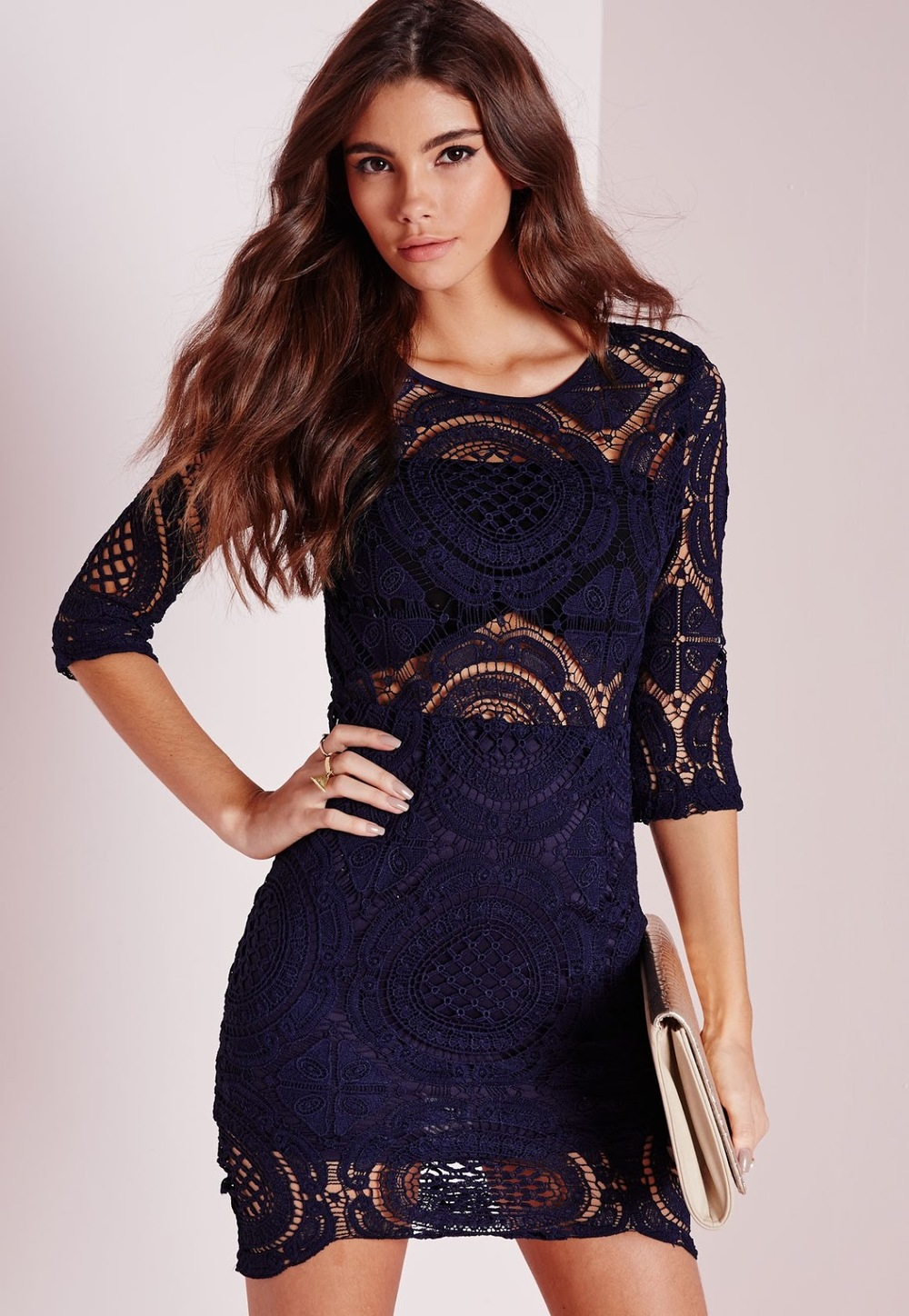 Misguided Lace Bodycon Dress in Navy, $77 at    MisguidedUS.com   .