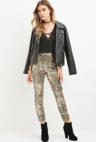 Forever 21 Geo-Pattern Sequined Pants, $34.90 at    Forever21.com   .