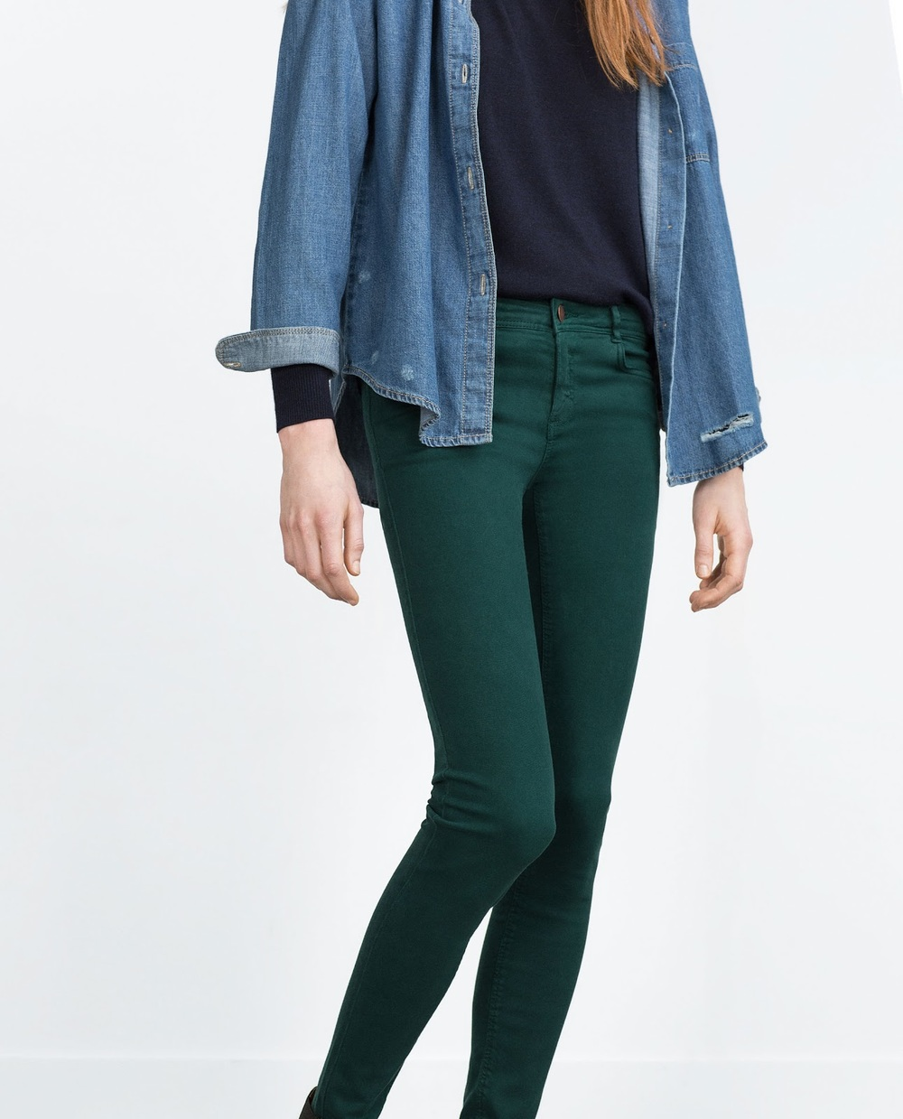 Zara Jeggings in Bottle Green, $36 at    Zara.com   .