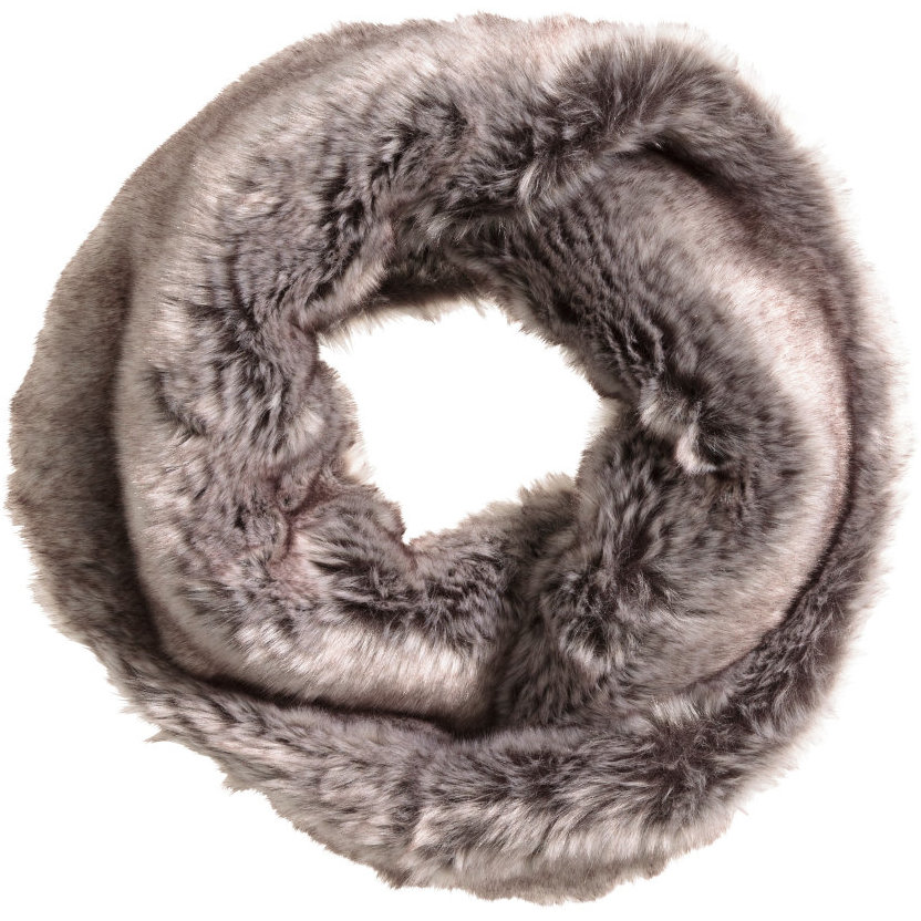 H&M Faux Fur Tube Scarf in Taupe, $25 at    HM.com   .