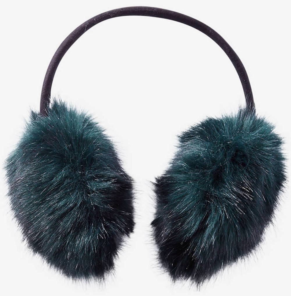 Green Faux Fur Earmuffs in Emerald, $34.90 at    Express.com .