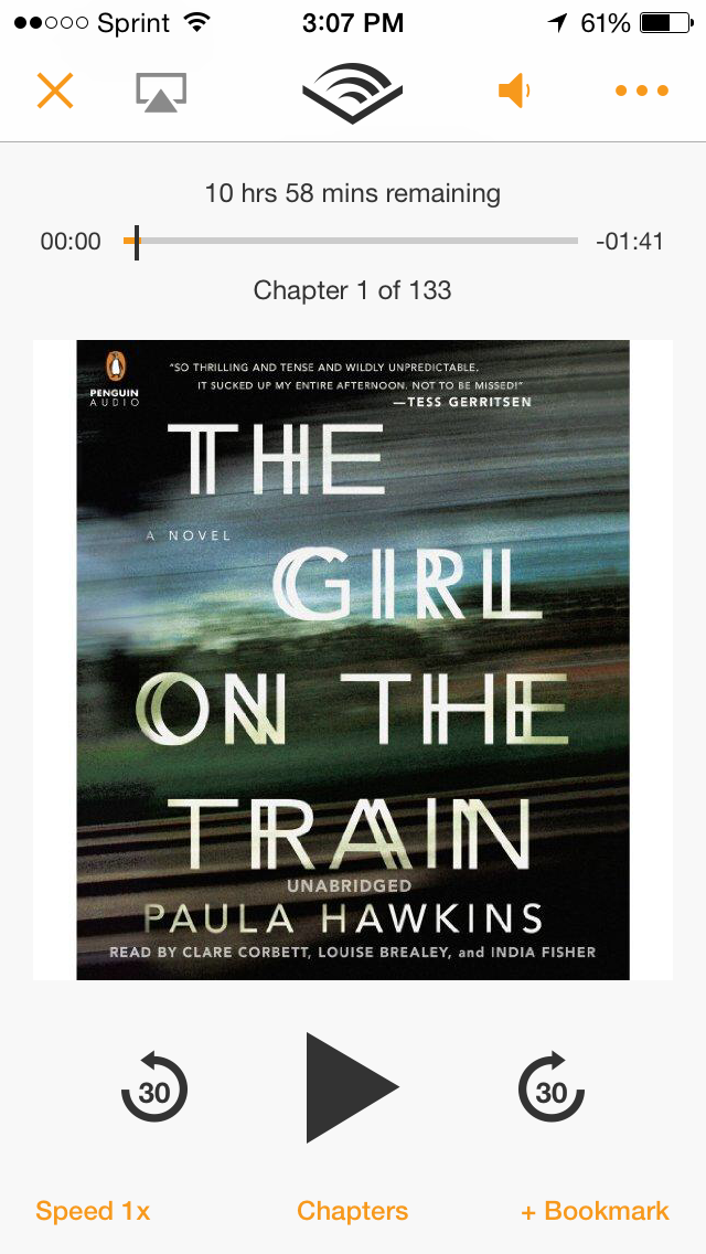 The Girl on the Train, by Paula Hawkins - Audible Edition, $19.60 on Amazon.com