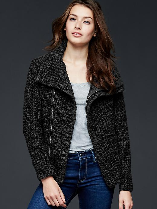 Gap Moto Sweater Jacket, $90 at    Gap.com   . Also available in red mahogany (aka burgundy), soft ivory and true black.