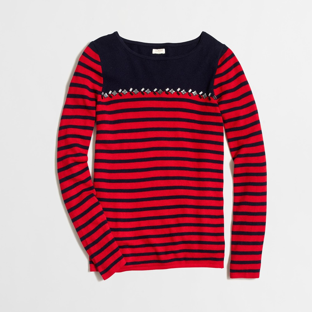 J.Crew Factory Breton Striped Sweater with Gems, $42 at    Factory.Jcrew.com   . Also available in acorn silver and black ivory.