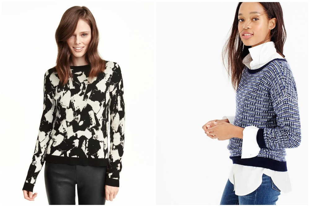 From left: H&M sweater with zip (up the back), $35 at    HM.com   . J.Crew tweed pullover sweater, $98 at    Jcrew.com   .
