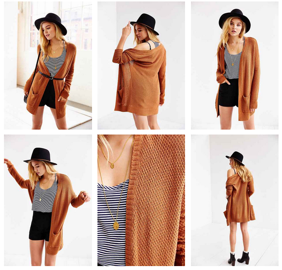 BDG London Cardigan, $59 at    UrbanOutfitters.com   . Also available in purple, ivory, gray, black and green.